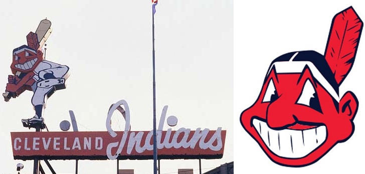 Chief wahoo swinging bat